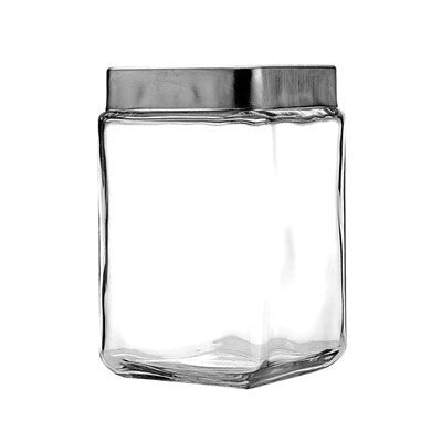 1 L Stackable Square Jar With Chrome Lid