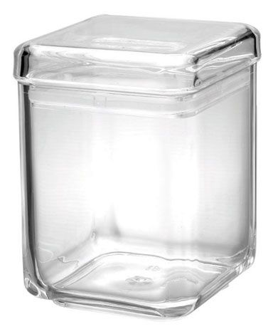 40 OZ Square Jar, Sealed Lid, MS, Foodsafe