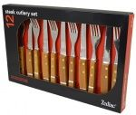 STEAK SET 12 PC WOOD HANDLE