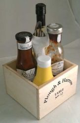 Wooden Square Condiment Holder